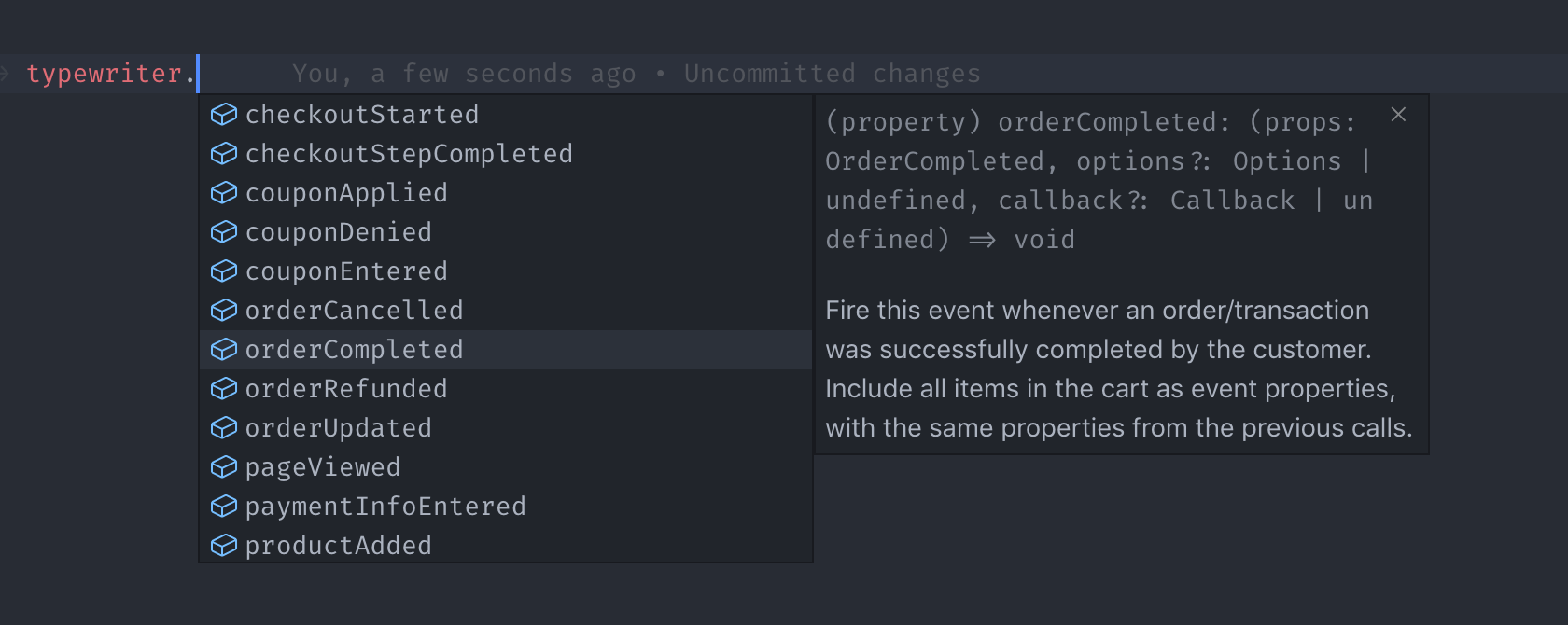 Event name intellisense